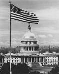 Flag flying in front of U.S. Capitol