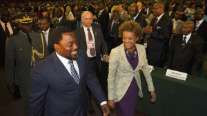 Governor General Michaelle Jean arrives with President of the Democratic Republic of the Congo Joseph Kabila